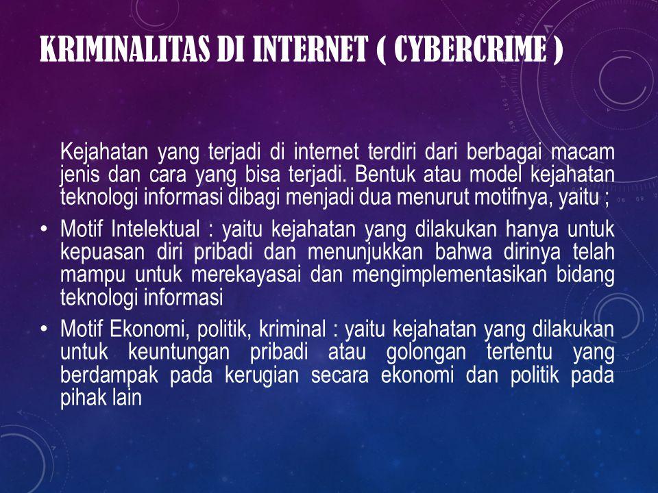 Kriminalitas di Internet ( Cybercrime )