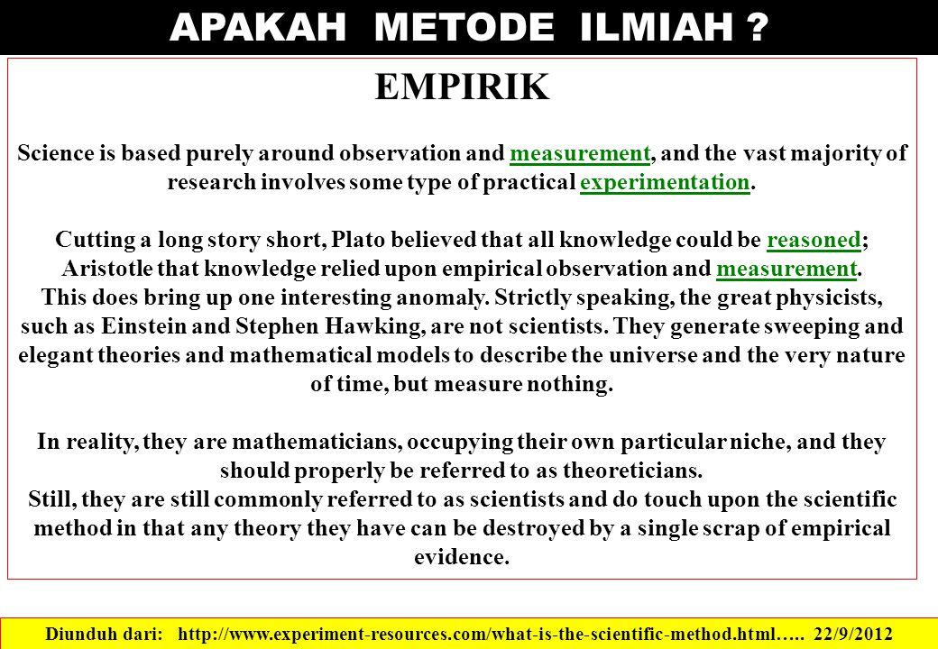 APAKAH METODE ILMIAH EMPIRIK