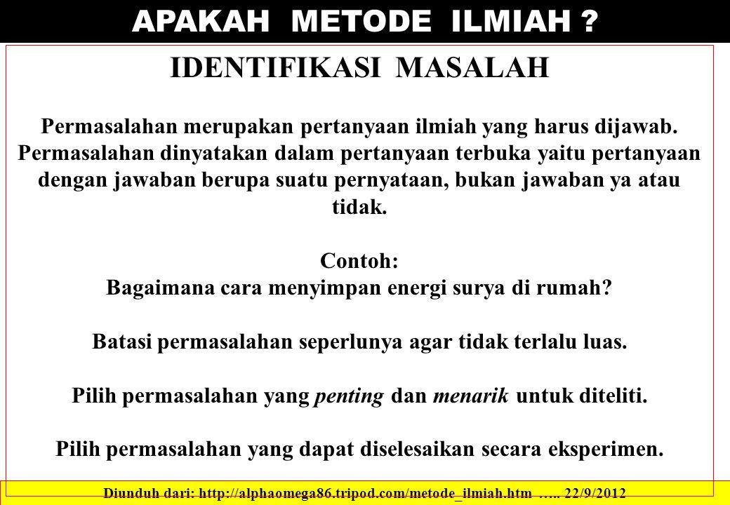 APAKAH METODE ILMIAH IDENTIFIKASI MASALAH