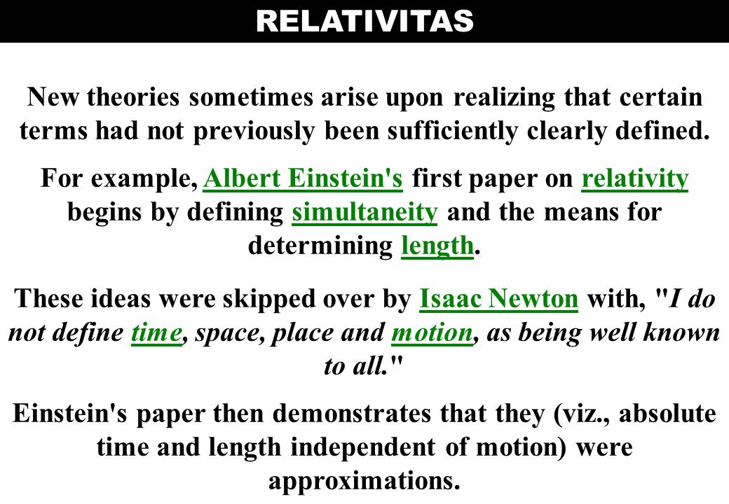 RELATIVITAS New theories sometimes arise upon realizing that certain terms had not previously been sufficiently clearly defined.