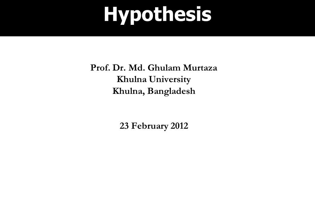 Prof. Dr. Md. Ghulam Murtaza