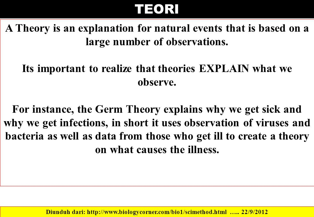 Its important to realize that theories EXPLAIN what we observe.