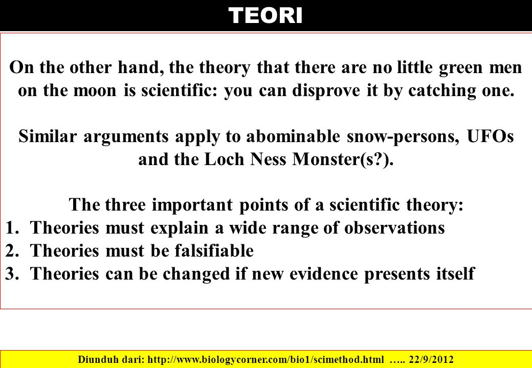 The three important points of a scientific theory: