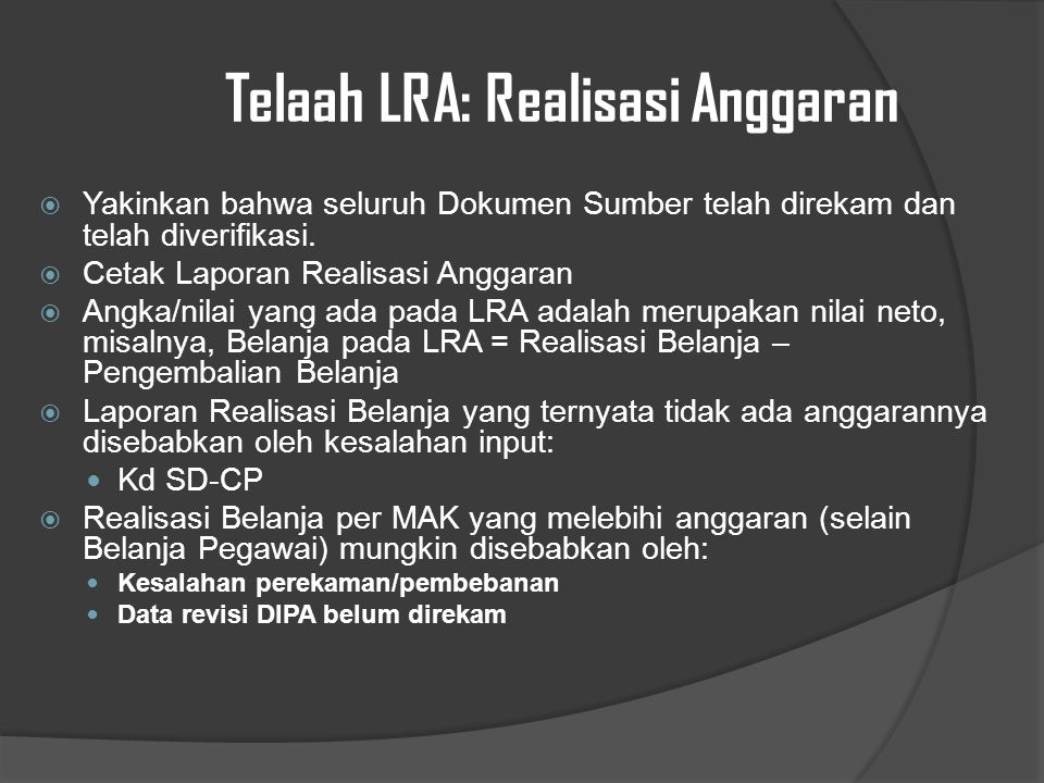 Telaah LRA: Realisasi Anggaran