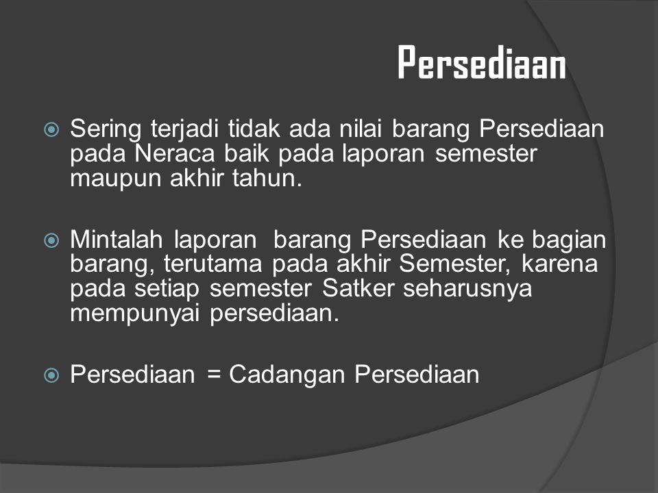 Persediaan Sering terjadi tidak ada nilai barang Persediaan pada Neraca baik pada laporan semester maupun akhir tahun.