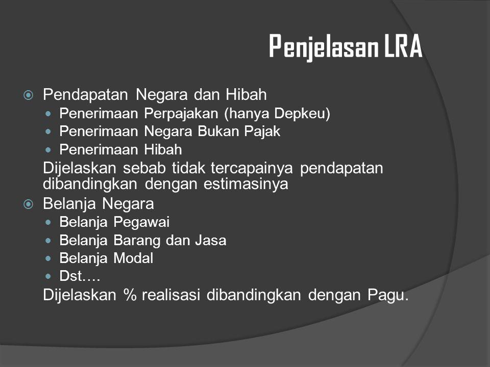 Penjelasan LRA Pendapatan Negara dan Hibah