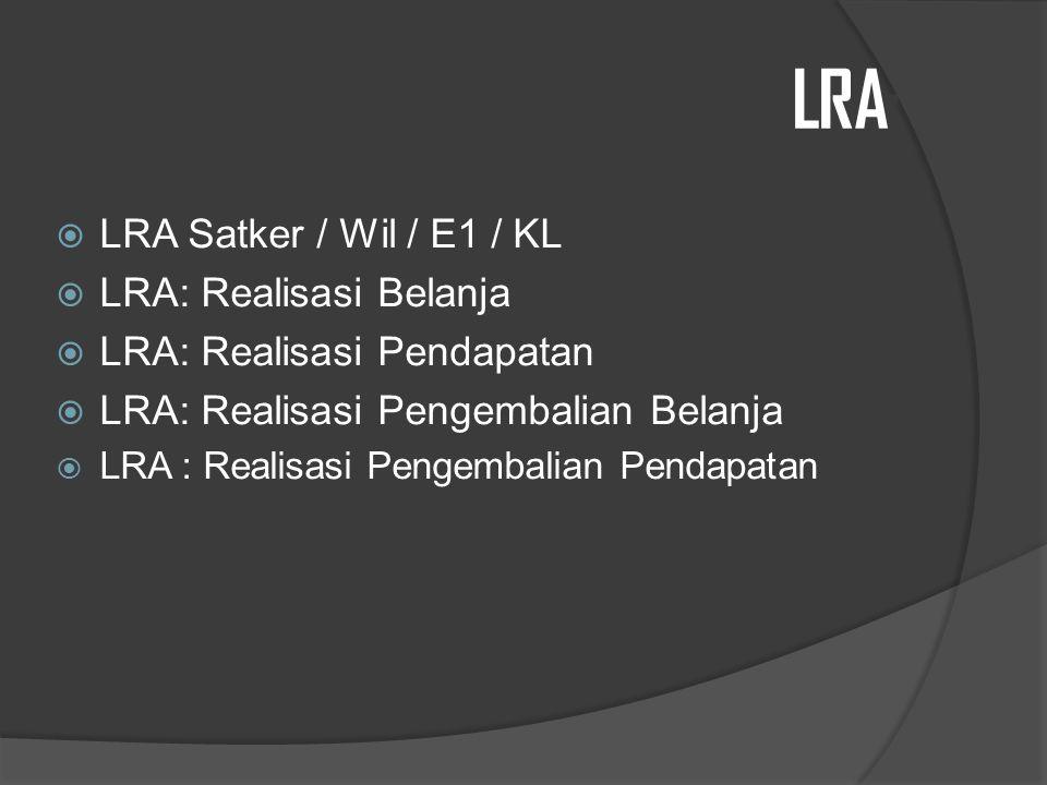 LRA: LRA Satker / Wil / E1 / KL LRA: Realisasi Belanja