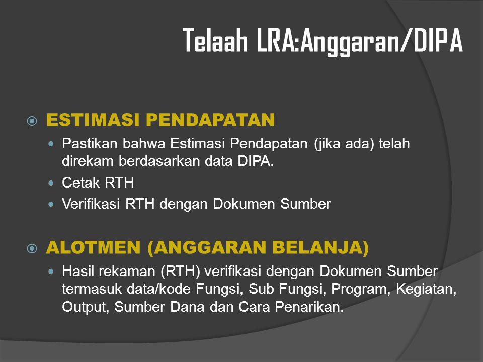 Telaah LRA:Anggaran/DIPA