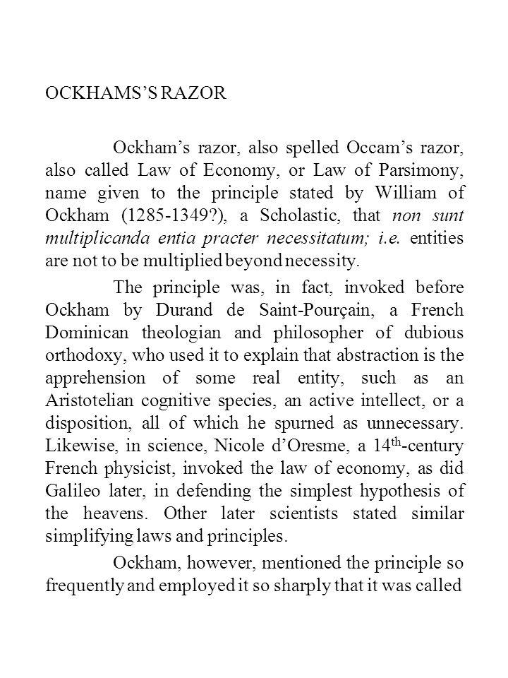 OCKHAMS'S RAZOR