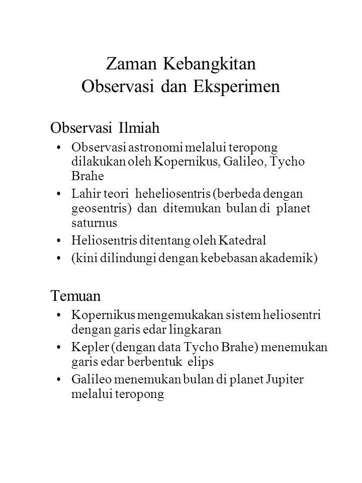 Zaman Kebangkitan Observasi dan Eksperimen