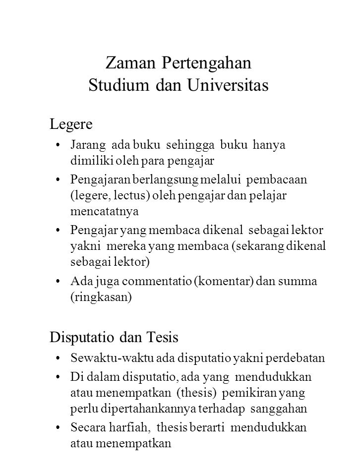Zaman Pertengahan Studium dan Universitas