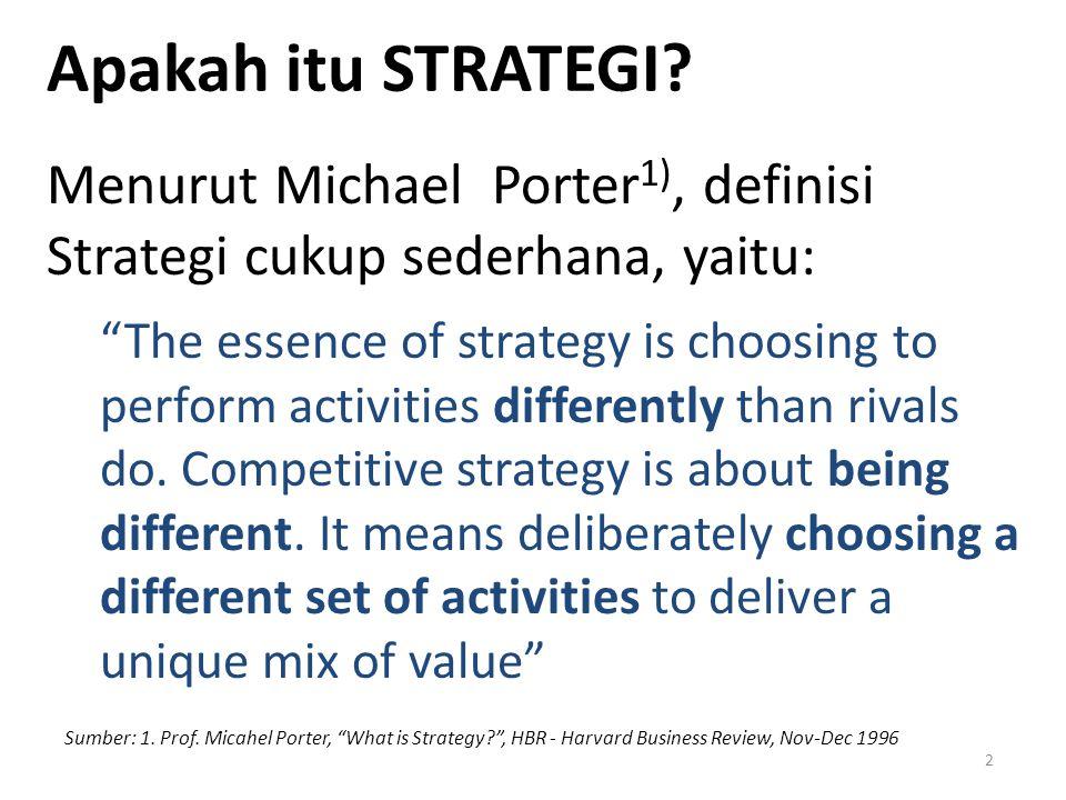Apakah itu STRATEGI Menurut Michael Porter1), definisi Strategi cukup sederhana, yaitu: