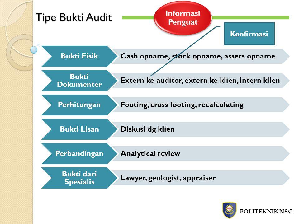Tipe Bukti Audit Informasi Penguat Bukti Fisik Bukti Dokumenter