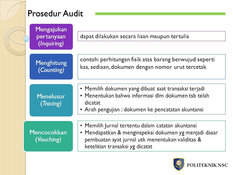 Prosedur Audit Mengajukan pertanyaan (Inquiring) Menghitung (Counting)