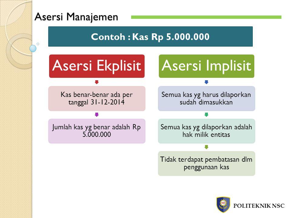 Asersi Manajemen Contoh : Kas Rp 5.000.000