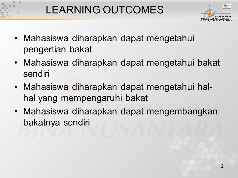 LEARNING OUTCOMES Mahasiswa diharapkan dapat mengetahui pengertian bakat. Mahasiswa diharapkan dapat mengetahui bakat sendiri.