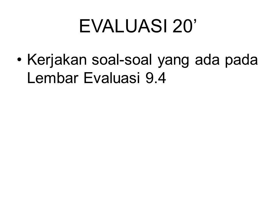 EVALUASI 20' Kerjakan soal-soal yang ada pada Lembar Evaluasi 9.4