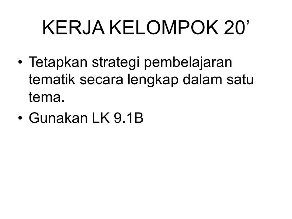 KERJA KELOMPOK 20' Tetapkan strategi pembelajaran tematik secara lengkap dalam satu tema.