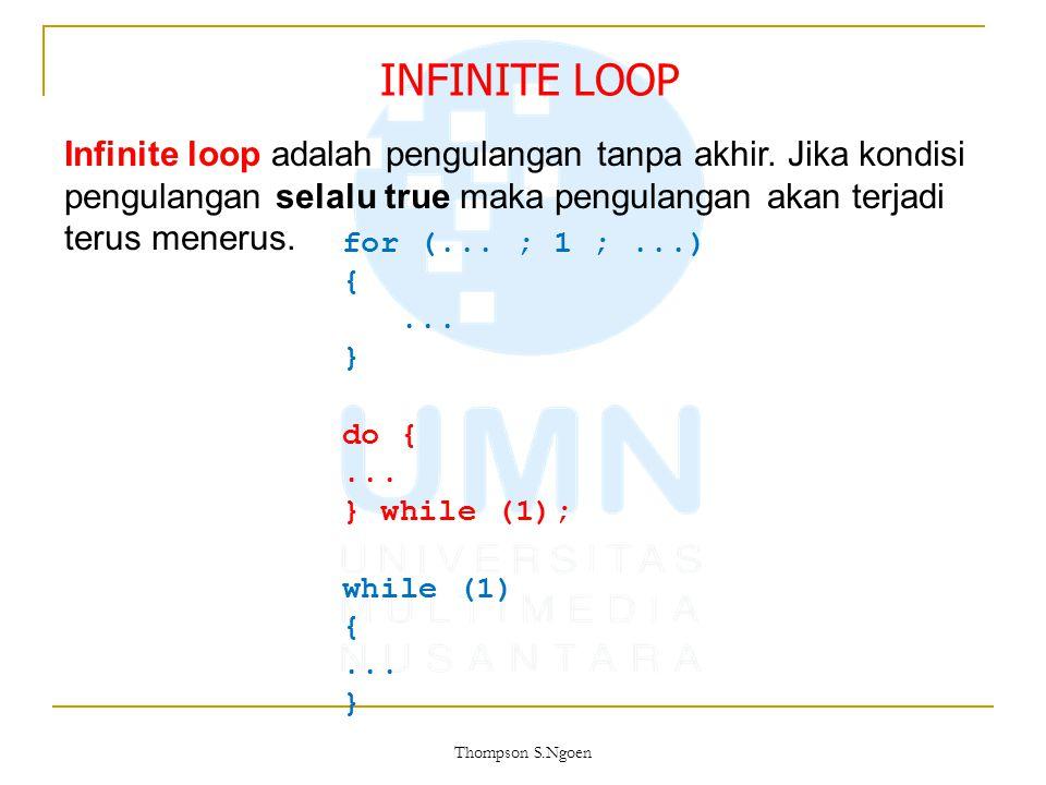 INFINITE LOOP Infinite loop adalah pengulangan tanpa akhir. Jika kondisi pengulangan selalu true maka pengulangan akan terjadi terus menerus.