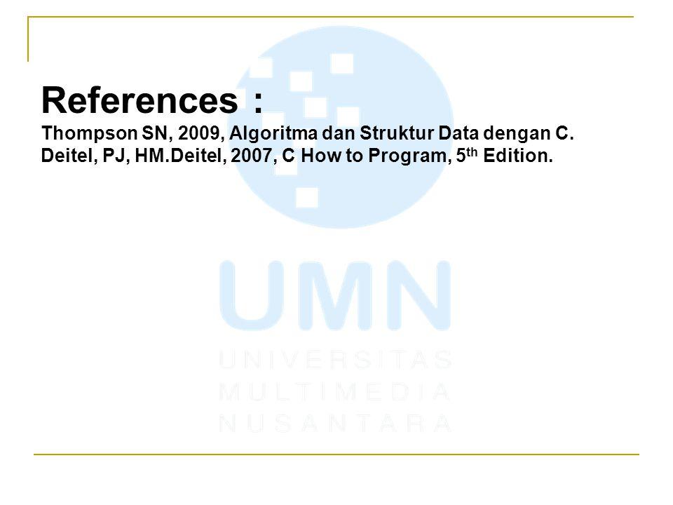 References : Thompson SN, 2009, Algoritma dan Struktur Data dengan C.
