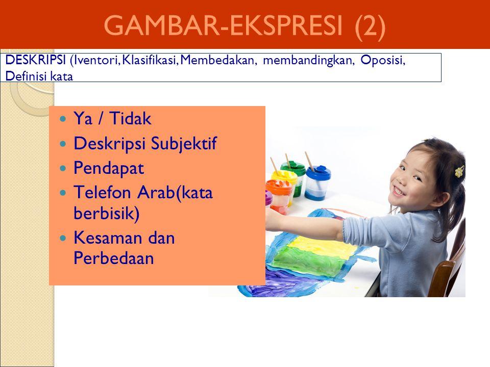 GAMBAR-EKSPRESI (2) Ya / Tidak Deskripsi Subjektif Pendapat