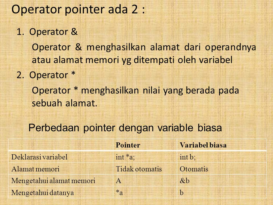Operator pointer ada 2 :