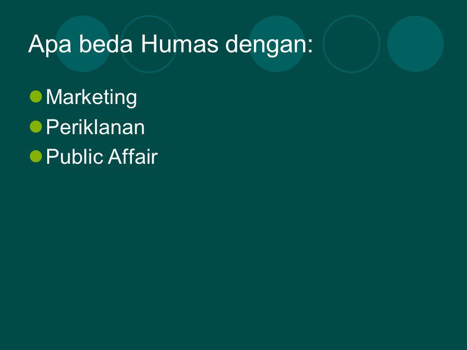 Apa beda Humas dengan: Marketing Periklanan Public Affair