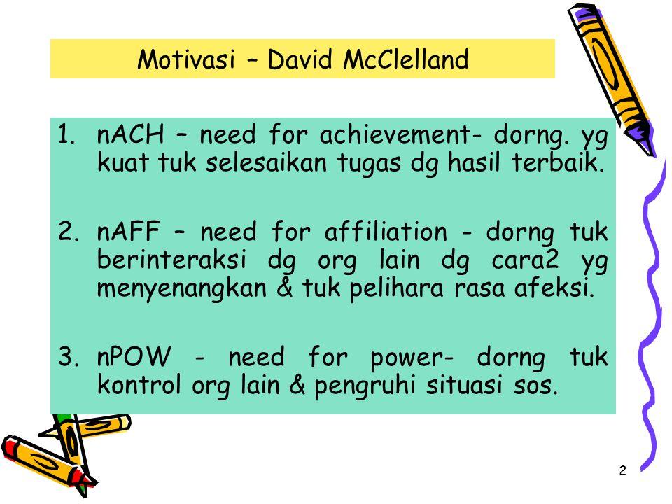 Motivasi – David McClelland