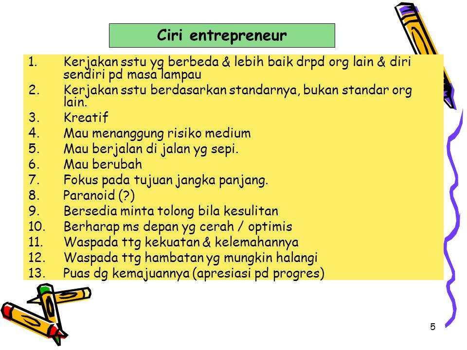 Ciri entrepreneur Kerjakan sstu yg berbeda & lebih baik drpd org lain & diri sendiri pd masa lampau.