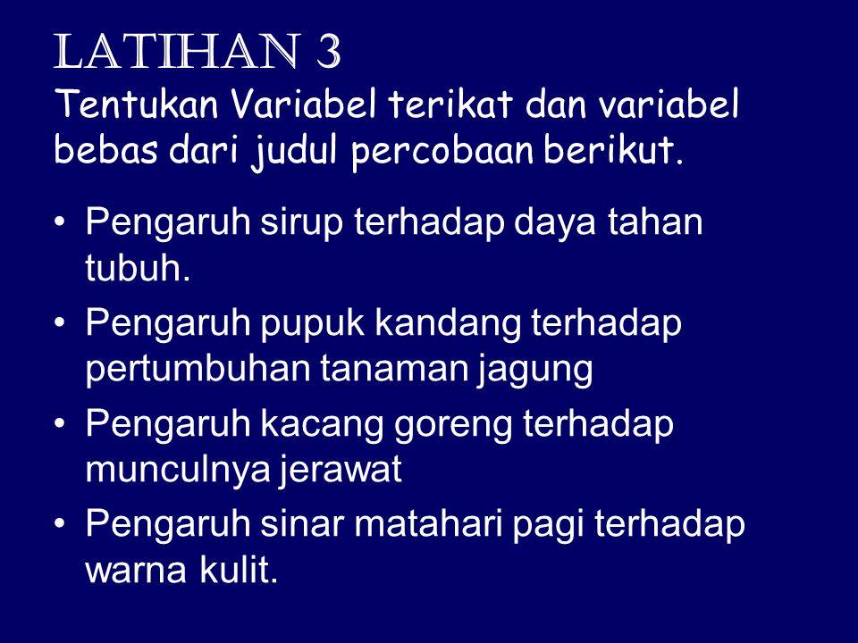 Latihan 3 Tentukan Variabel terikat dan variabel bebas dari judul percobaan berikut.
