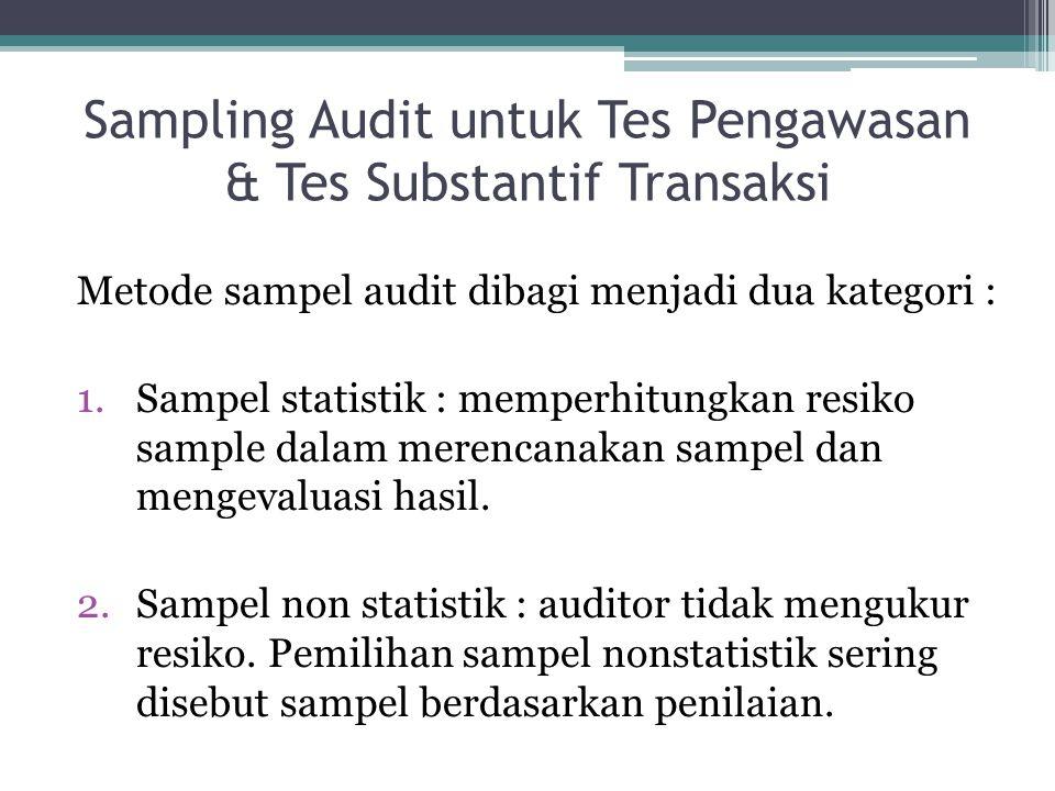 Sampling Audit untuk Tes Pengawasan & Tes Substantif Transaksi