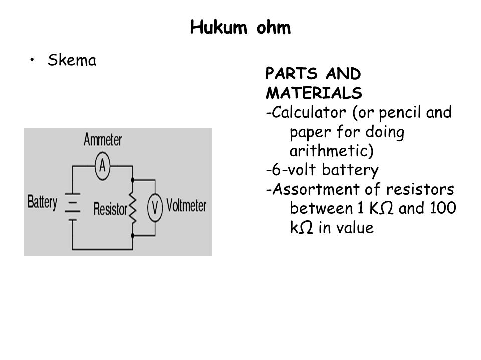 Hukum ohm Skema PARTS AND MATERIALS