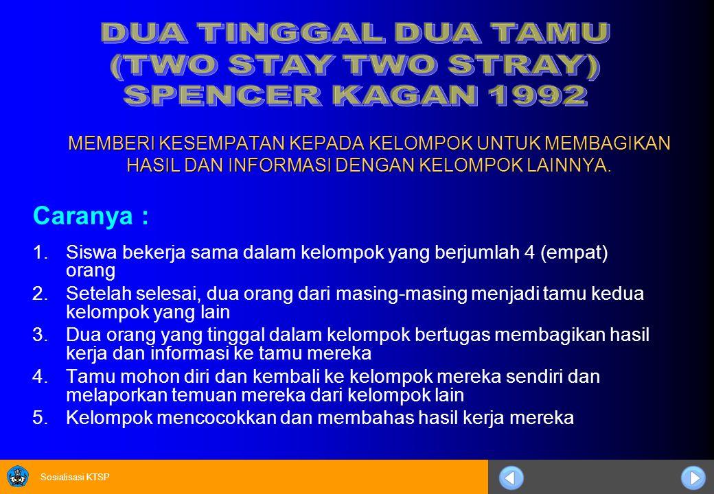 DUA TINGGAL DUA TAMU (TWO STAY TWO STRAY) SPENCER KAGAN 1992.
