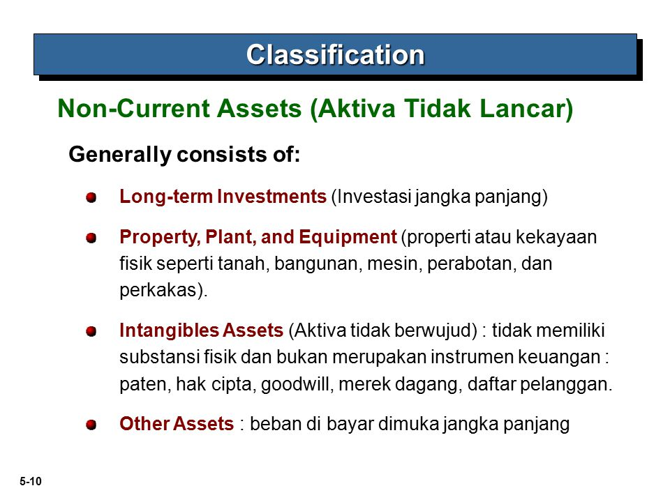 Classification Non-Current Assets (Aktiva Tidak Lancar)