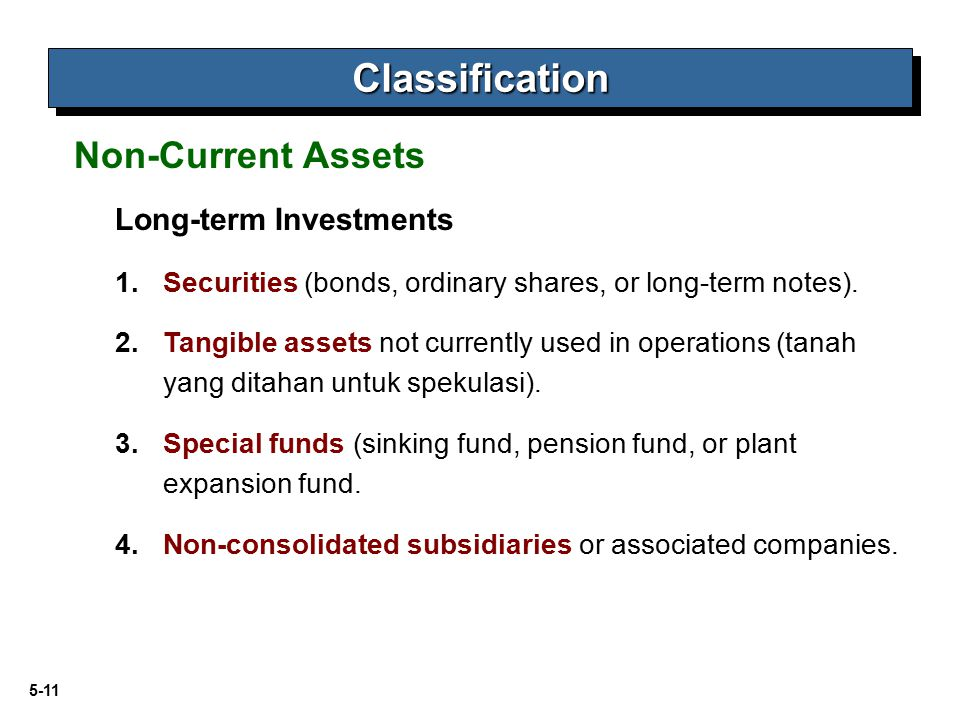 Classification Non-Current Assets Long-term Investments
