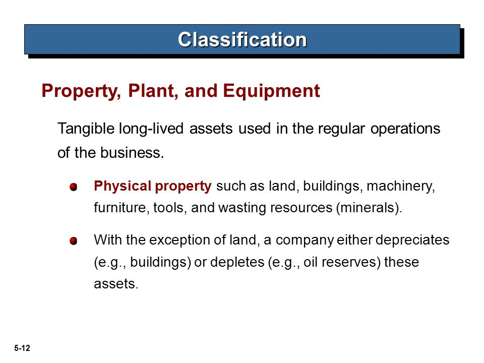 Classification Property, Plant, and Equipment
