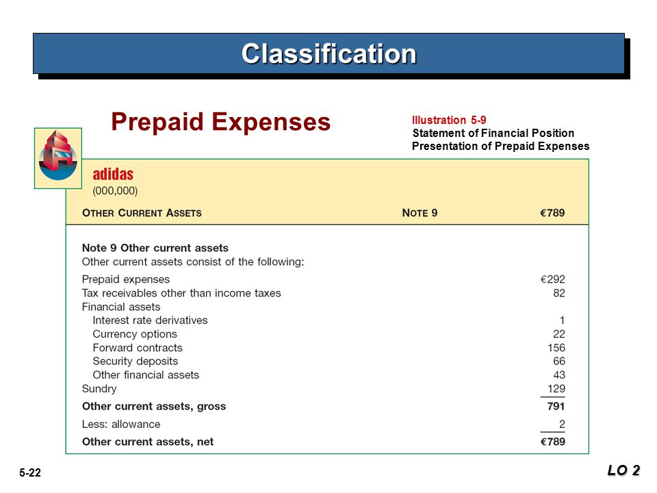 Classification Prepaid Expenses LO 2 Illustration 5-9