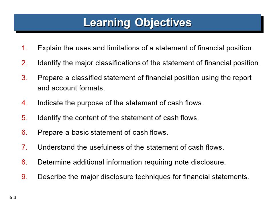 Learning Objectives Explain the uses and limitations of a statement of financial position.