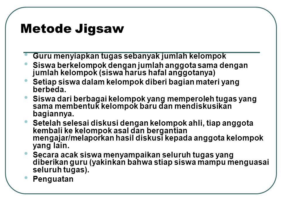 Metode Jigsaw Guru menyiapkan tugas sebanyak jumlah kelompok