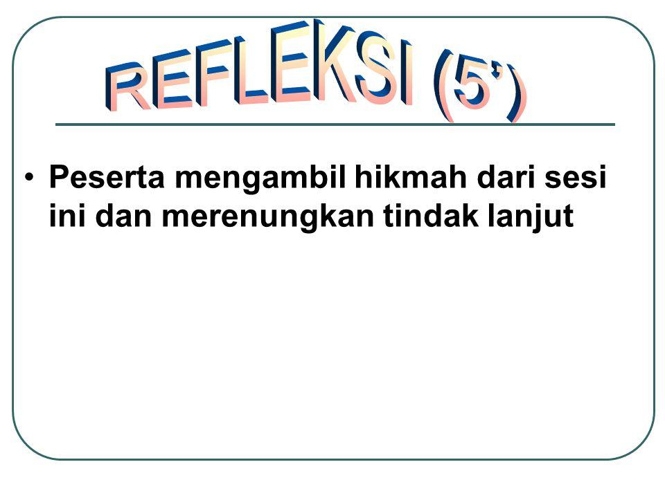 REFLEKSI (5') Peserta mengambil hikmah dari sesi ini dan merenungkan tindak lanjut