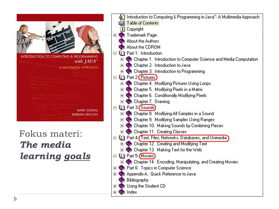 Fokus materi: The media learning goals
