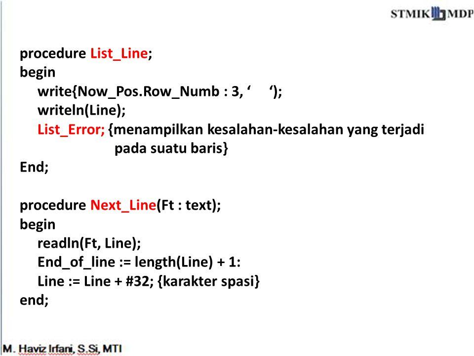 procedure List_Line; begin. write{Now_Pos.Row_Numb : 3, ' '); writeln(Line); List_Error; {menampilkan kesalahan-kesalahan yang terjadi.