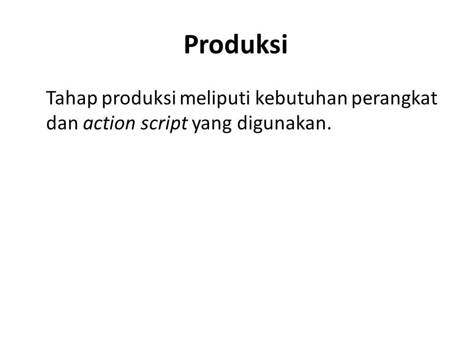 Produksi Tahap produksi meliputi kebutuhan perangkat dan action script yang digunakan.