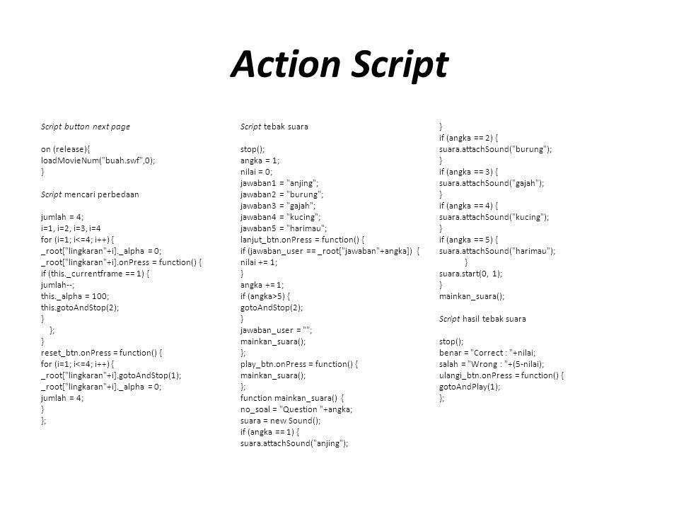 Action Script Script button next page Script tebak suara