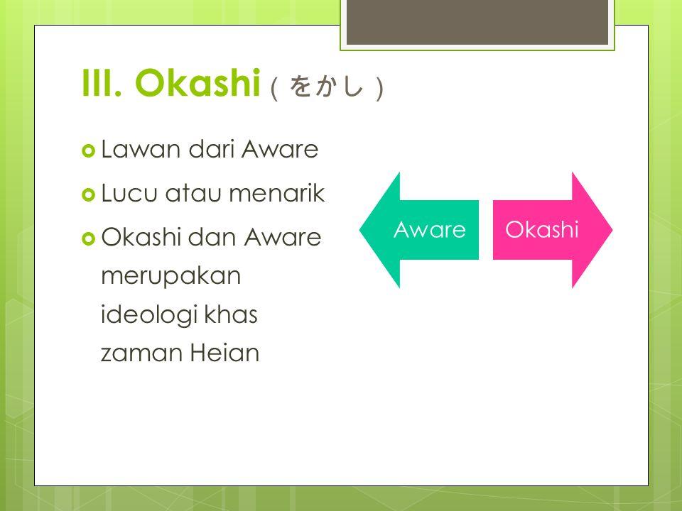 III. Okashi(をかし) Lawan dari Aware Lucu atau menarik