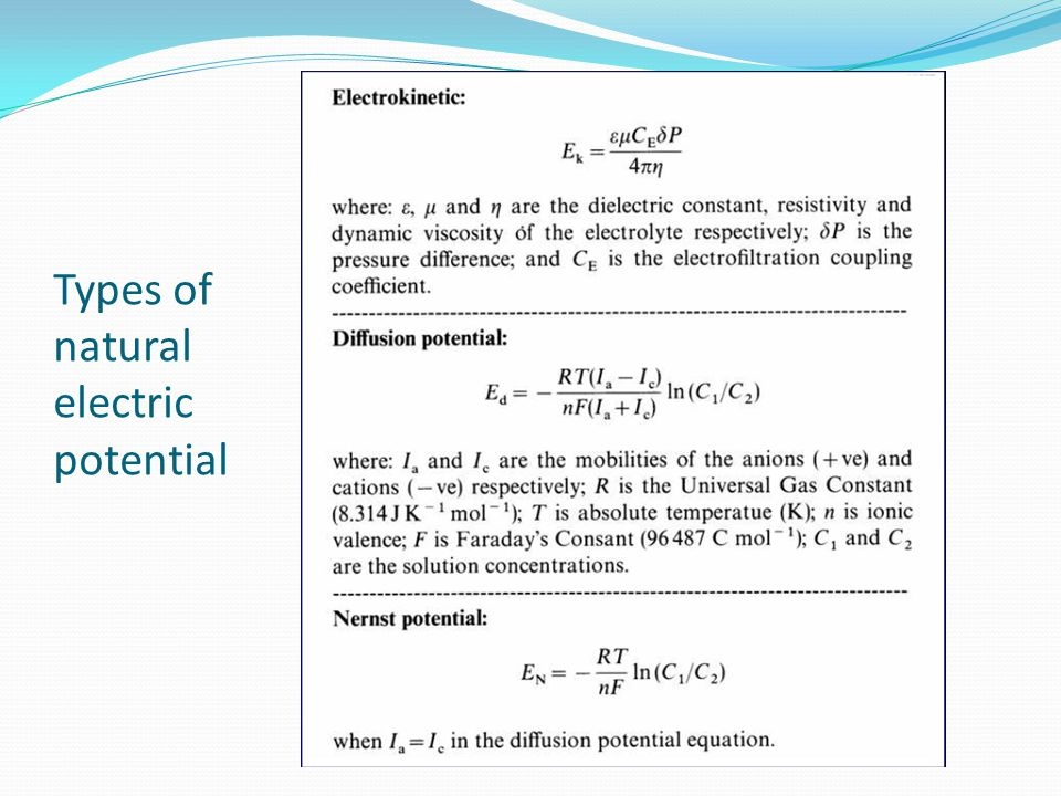 Types of natural electric potential