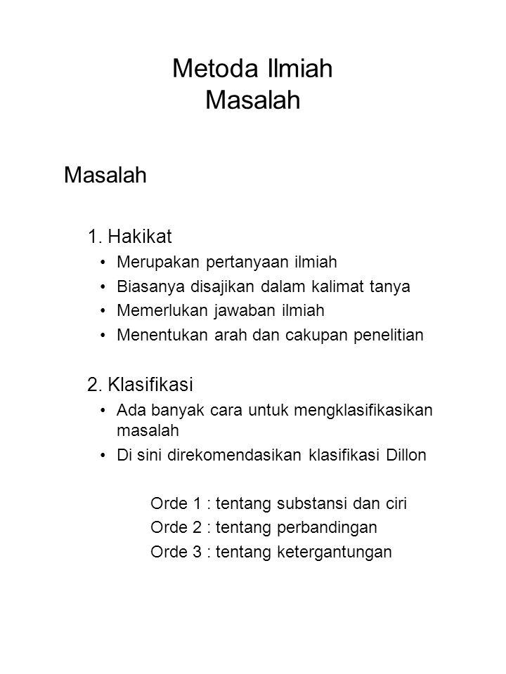 Metoda Ilmiah Masalah Masalah 1. Hakikat 2. Klasifikasi