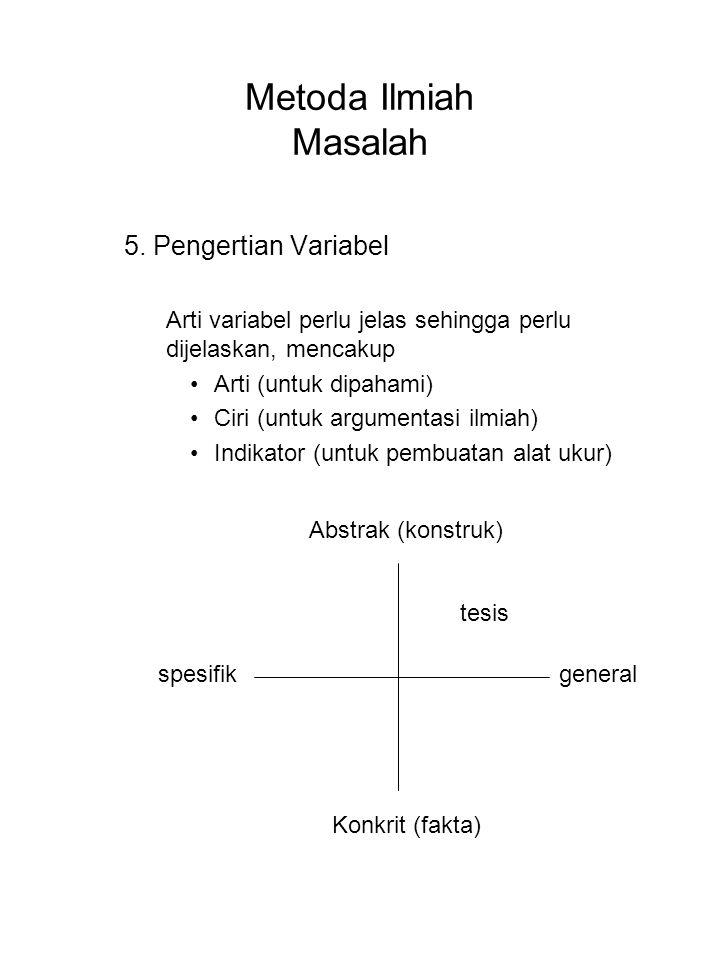 Metoda Ilmiah Masalah 5. Pengertian Variabel