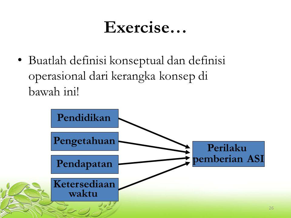 Exercise… Buatlah definisi konseptual dan definisi operasional dari kerangka konsep di bawah ini!