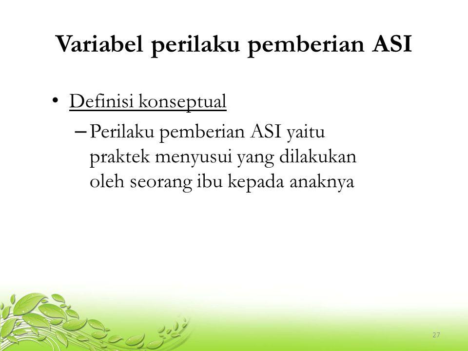 Variabel perilaku pemberian ASI